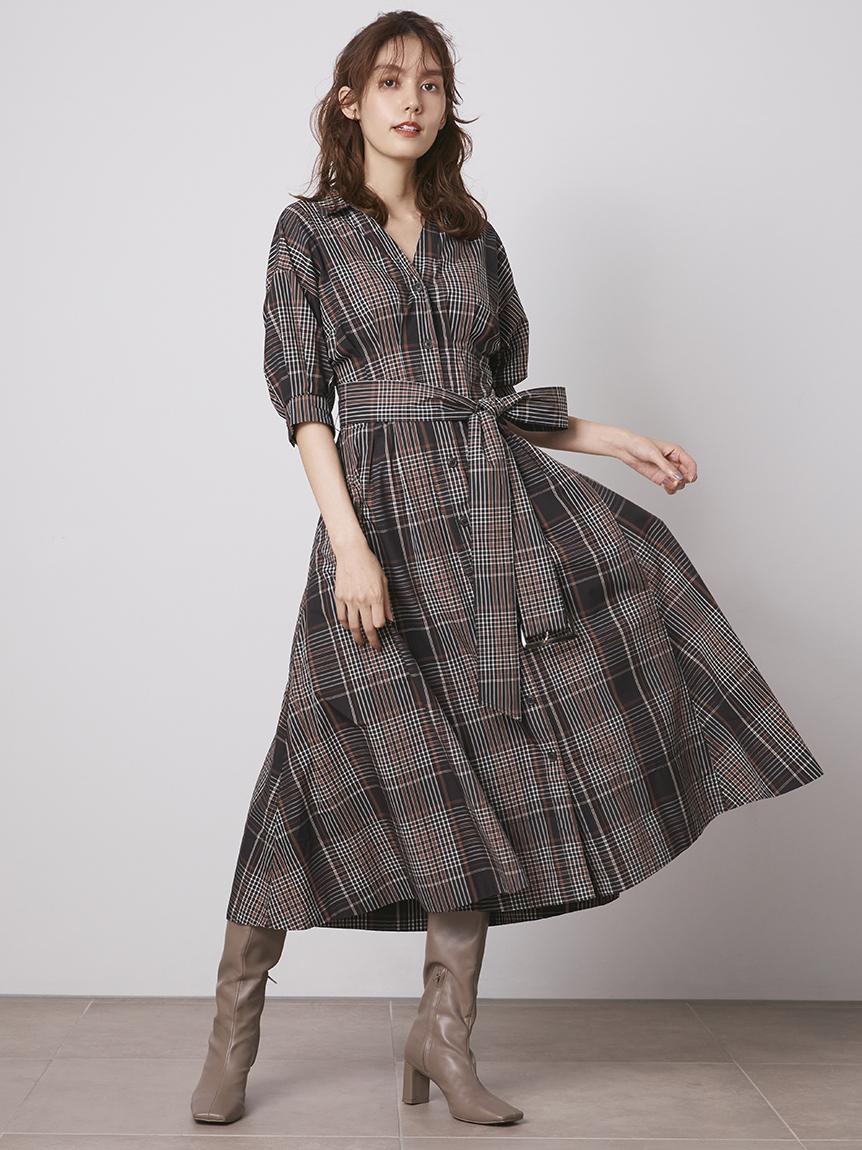 【ONLINE限定】コットンチェックシャツワンピース