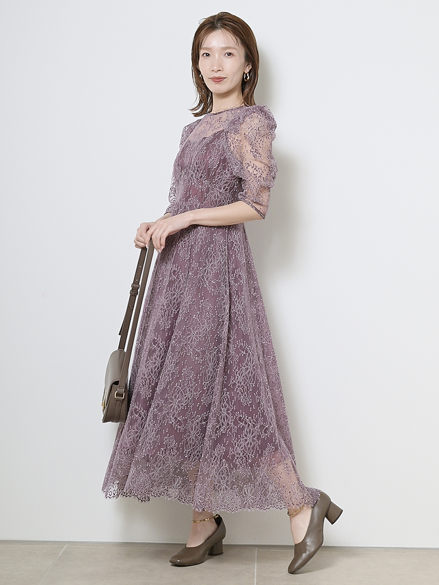 パワーショルダーレースドレス