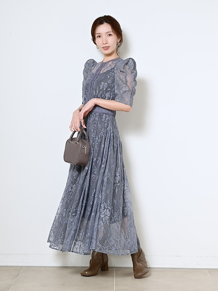 フラワー刺繍チュールドレス(BLU-0)