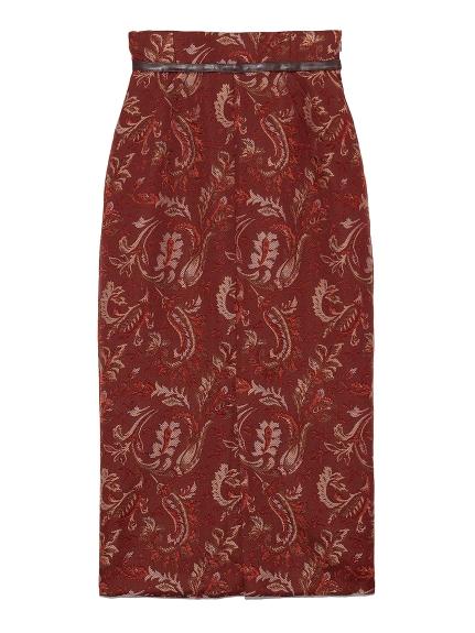 ジャガードミドルタイトスカート(WINE-0)