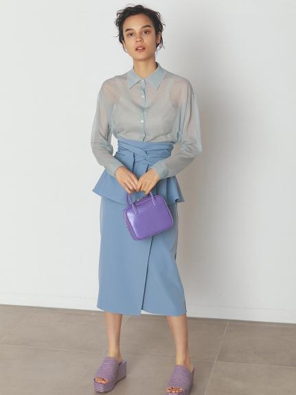 リボンディテールポンチスカート
