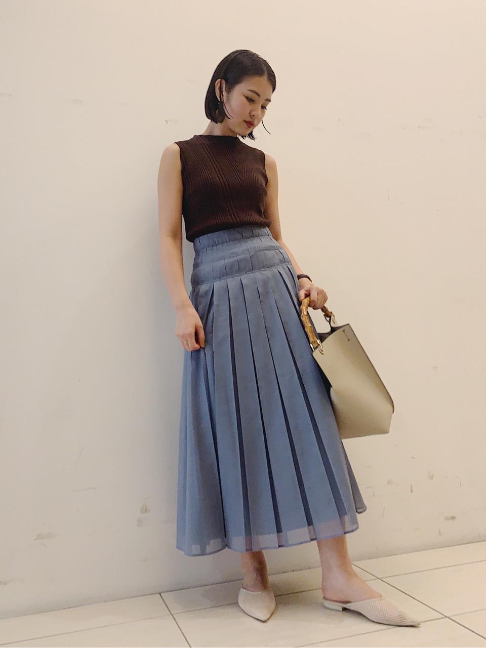 シアーワイドプリーツスカート(BLU-0)
