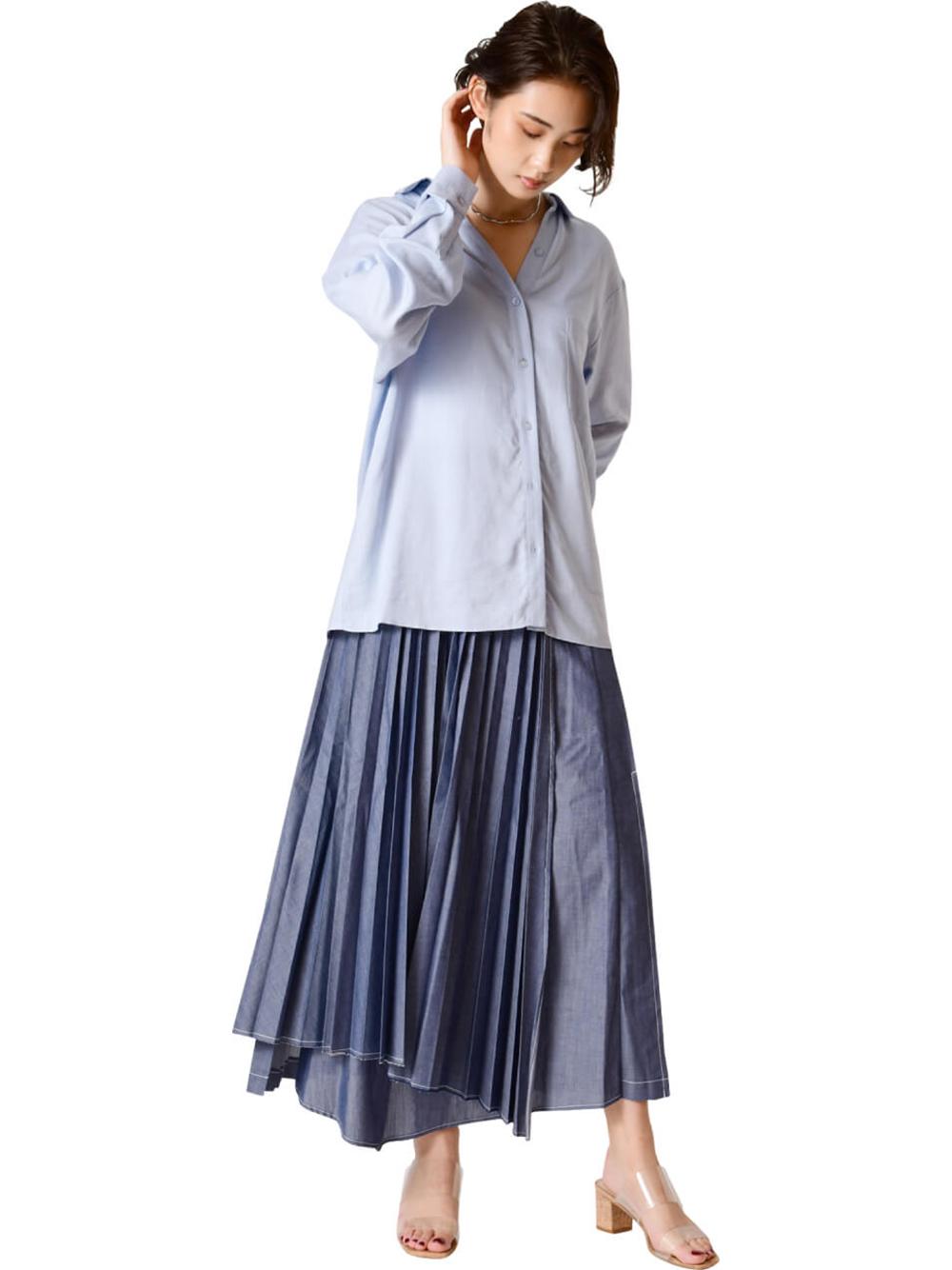 プリーツレイヤードスカート(BLU-0)