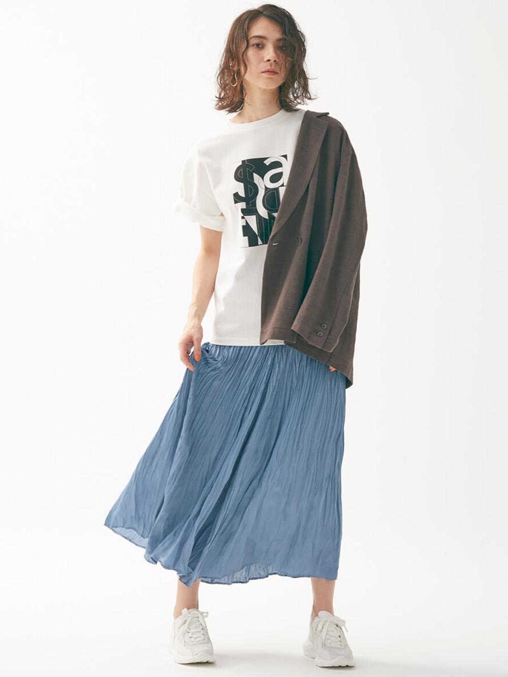 ワッシャープリーツスカート(SAX-F)