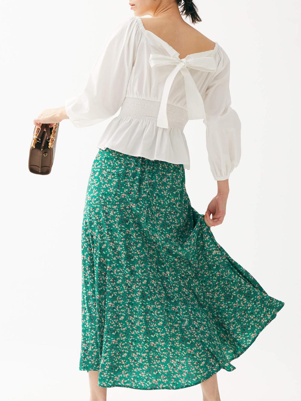 プリントナローフレアスカート