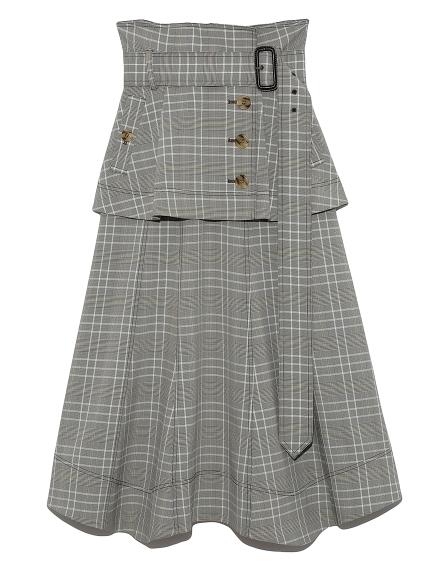 フレアミドルトレンチスカート(CHECK-0)