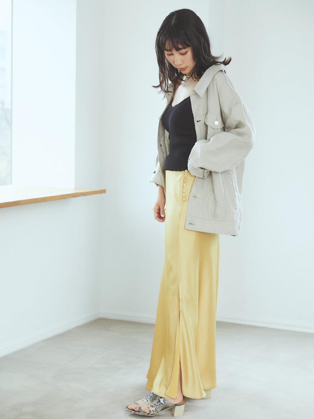 サテン ロング スカート