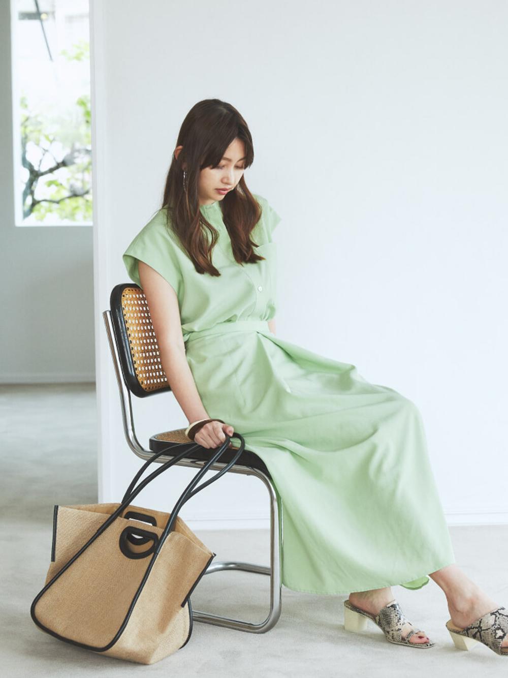 【ONLINE限定】ボックスタックスカート(GRN-0)