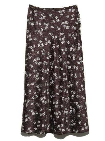 サテンプリントスカート