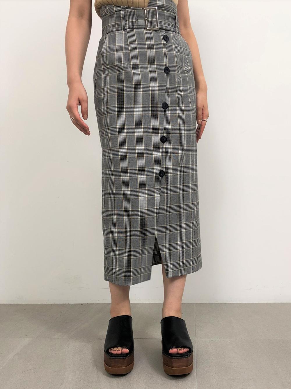 アシメデザインタイトスカート(CHECK-0)