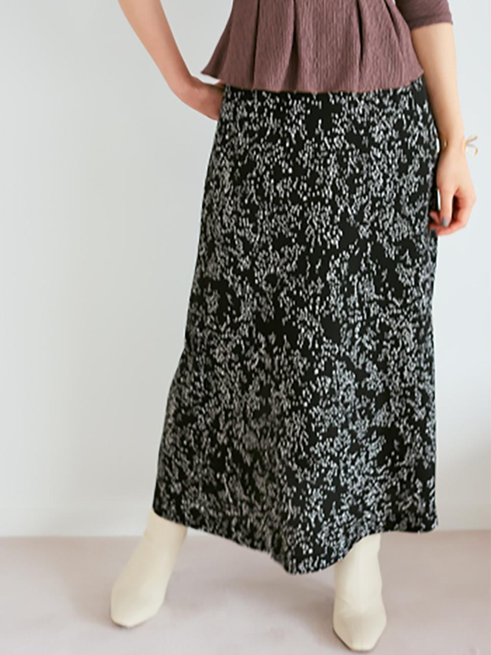 バリエーションプリントサテンスカート(BLK-0)
