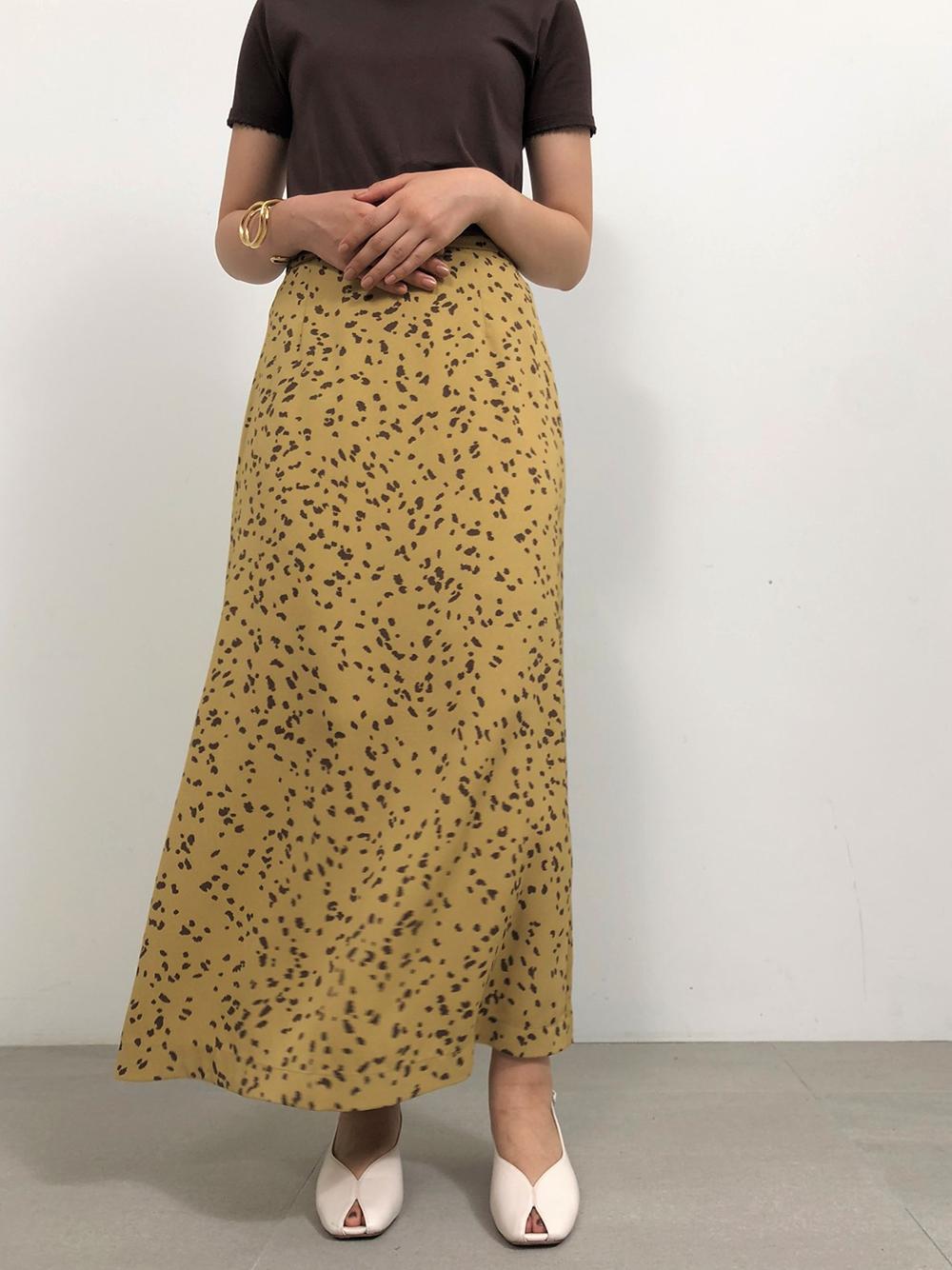 バリエーションプリントサテンスカート(YEL-0)