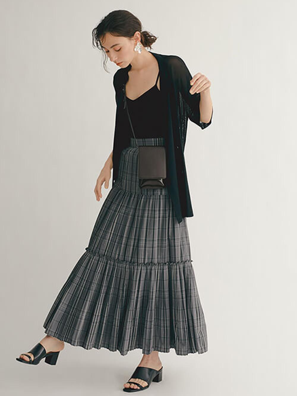 ギャザーティアードIラインスカート(CGRY-0)