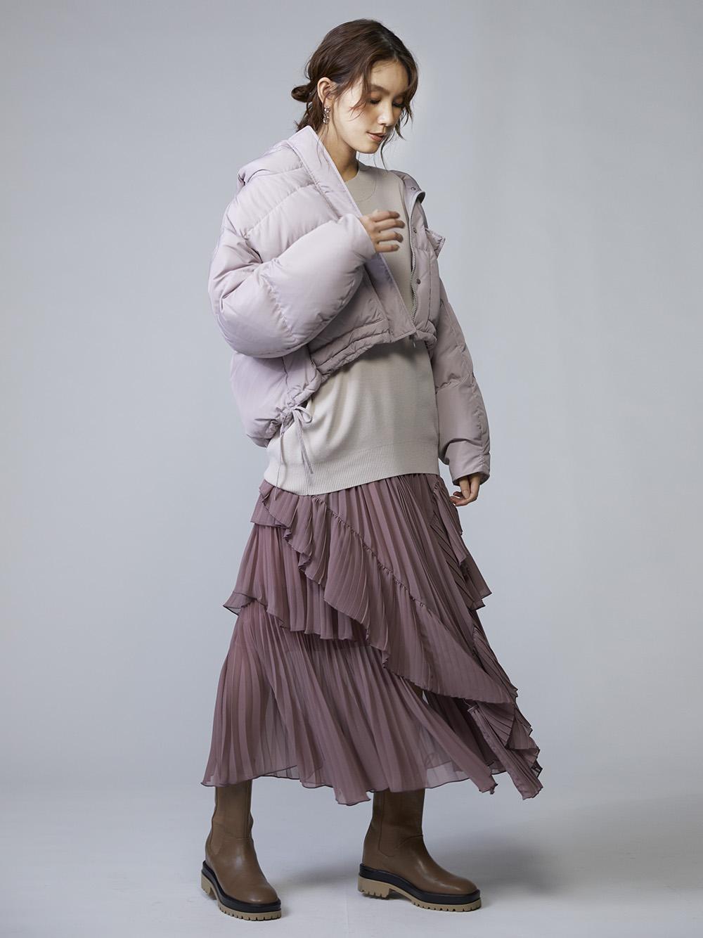 シアーボリュームプリーツスカート(PNK-0)