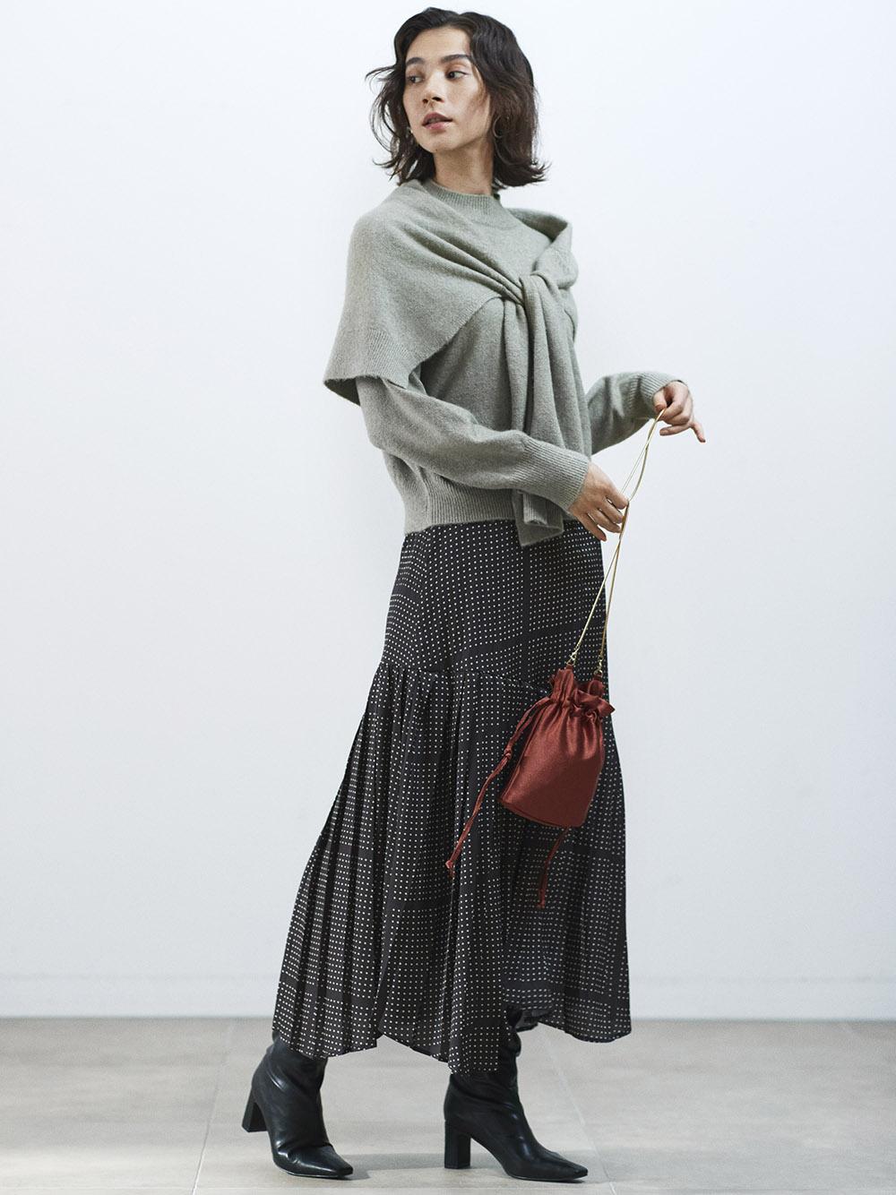 プリントプリーツスカート(BLK-0)