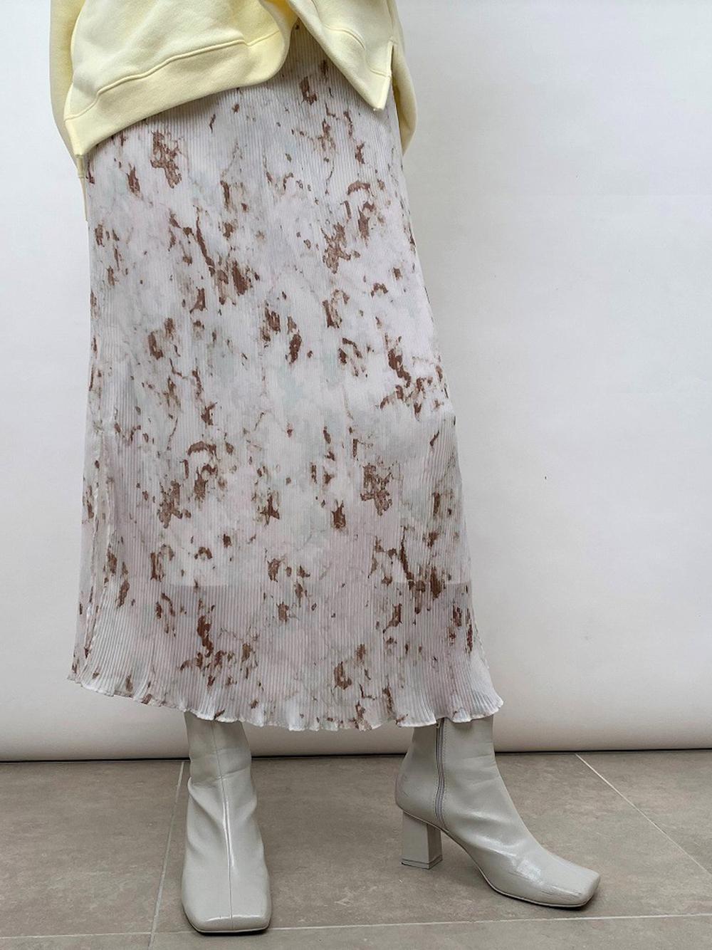シフォンプリーツプリントタイトスカート(MIX-0)