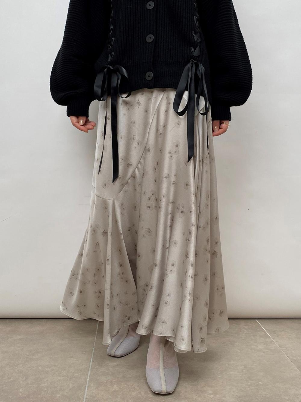 サテンプリントスカート(LGRY-0)