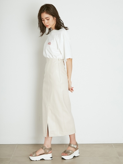 FAUXレザータイトスカート(BEG-0)