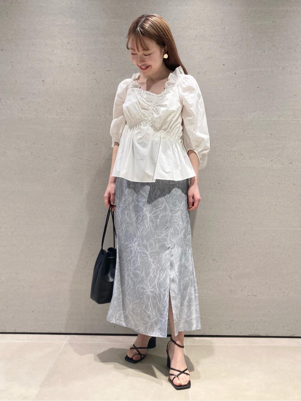 ラインフラワーナロースカート(SAX-0)