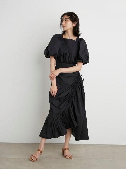 コットンアシメギャザースカート(BLK-0)