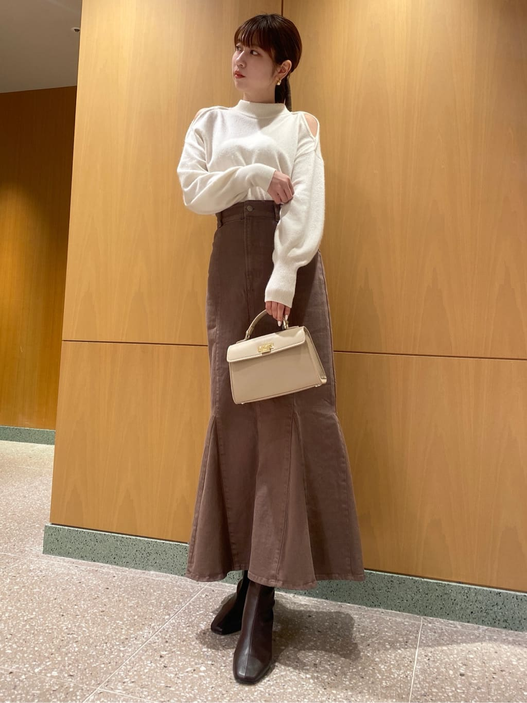 【SNIDEL×Healthy DENIM】ハイウエストレースアップスカート(MOC-0)