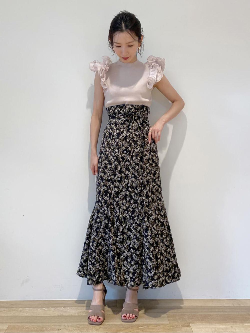ハイウエストマーメイドプリントスカート(BLK-0)