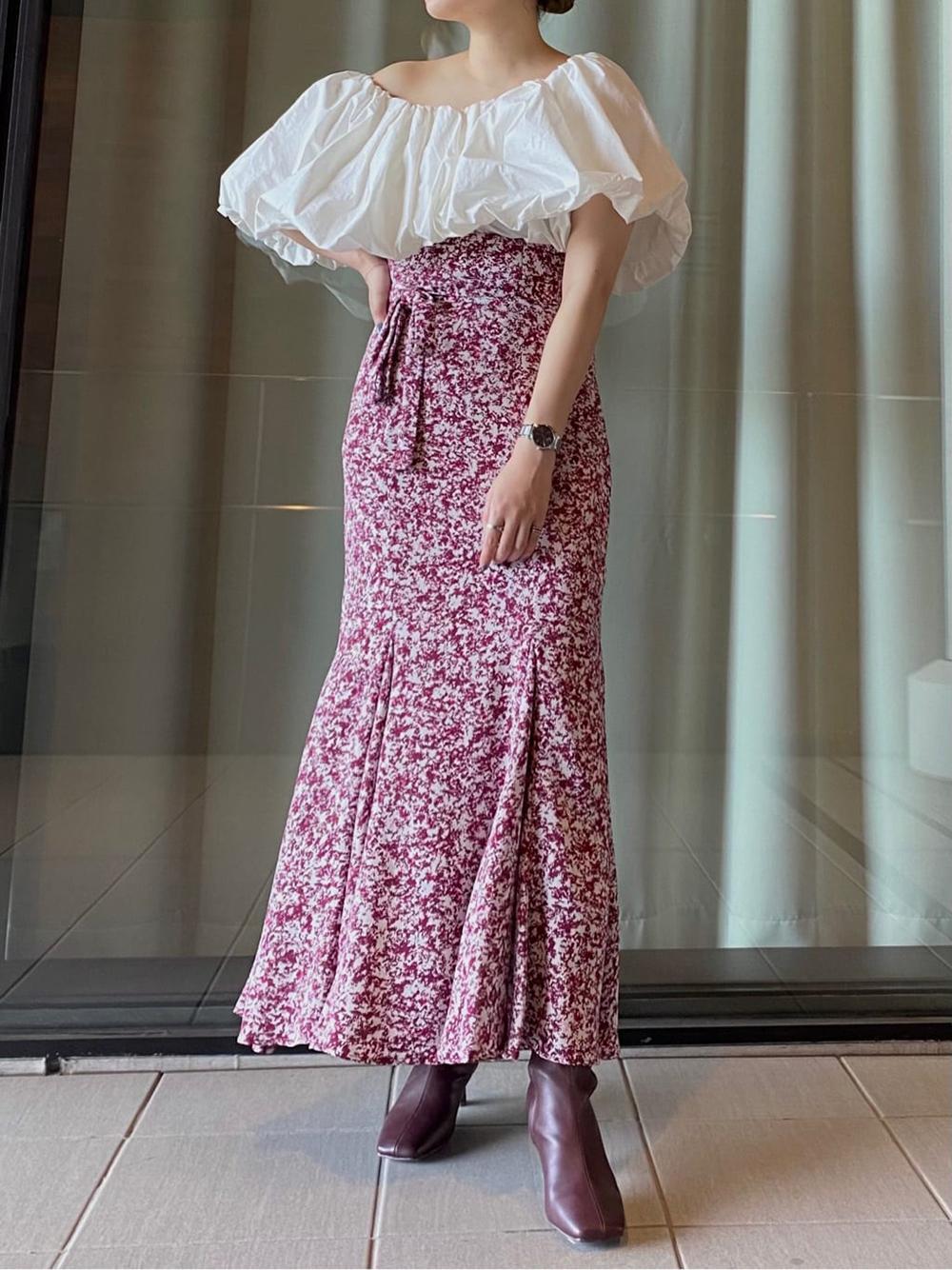ハイウエストマーメイドプリントスカート(WINE-0)