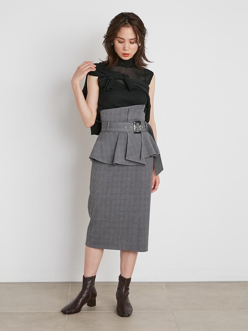 コルセットベルトタイトスカート(CHECK-0)