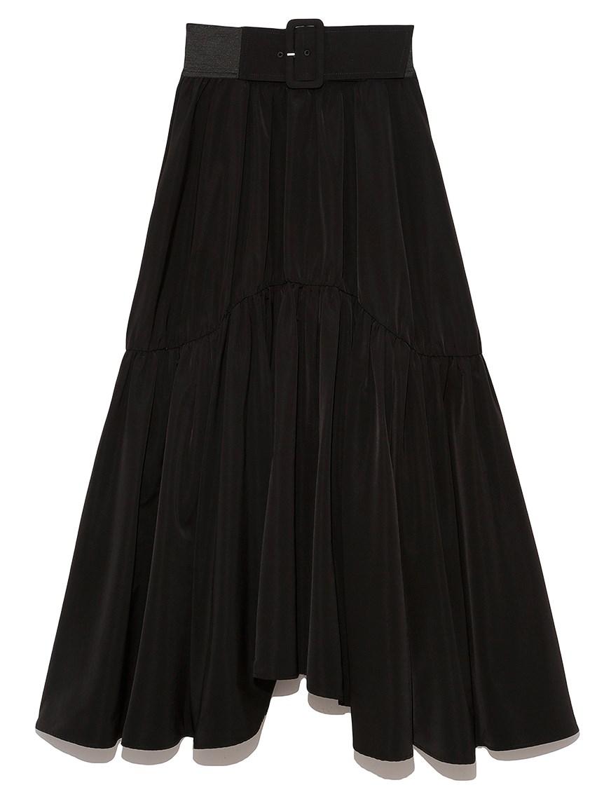 ベルトオンボリュームギャザースカート(BLK-0)