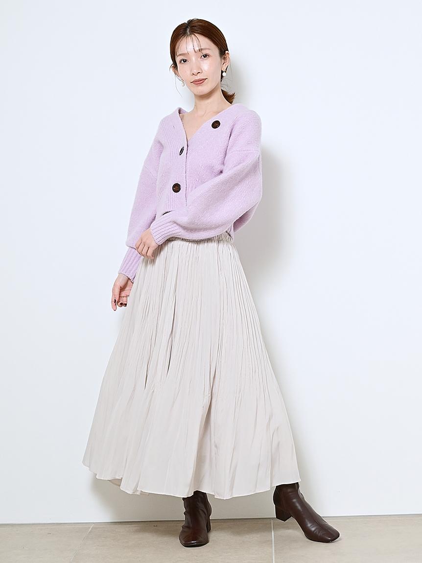 シャーリングハイウェストステッチスカート(OWHT-0)