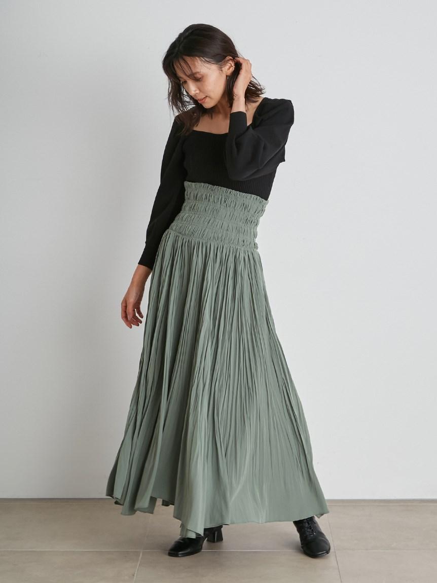 シャーリングハイウェストステッチスカート(MNT-0)