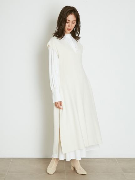 ベストレイヤードシャツワンピース(OWHT-F)