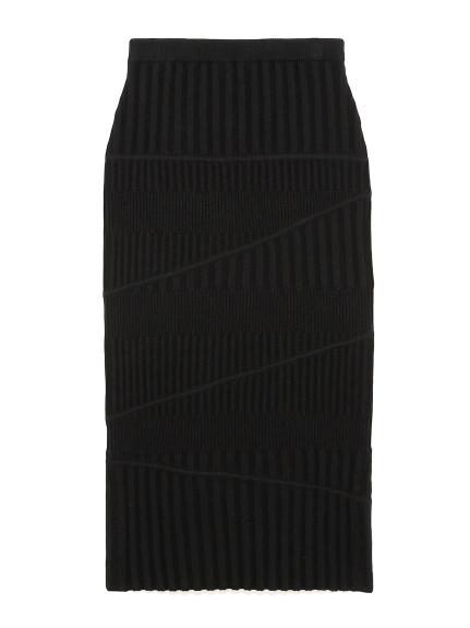 Iラインリブニットスカート(BLK-F)