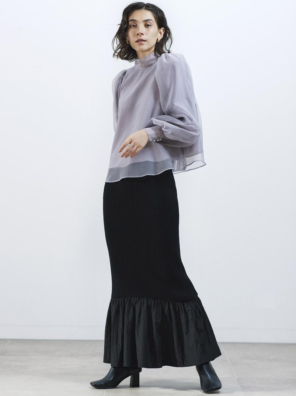 ヘムギャザードッキングスカート(BLK-F)