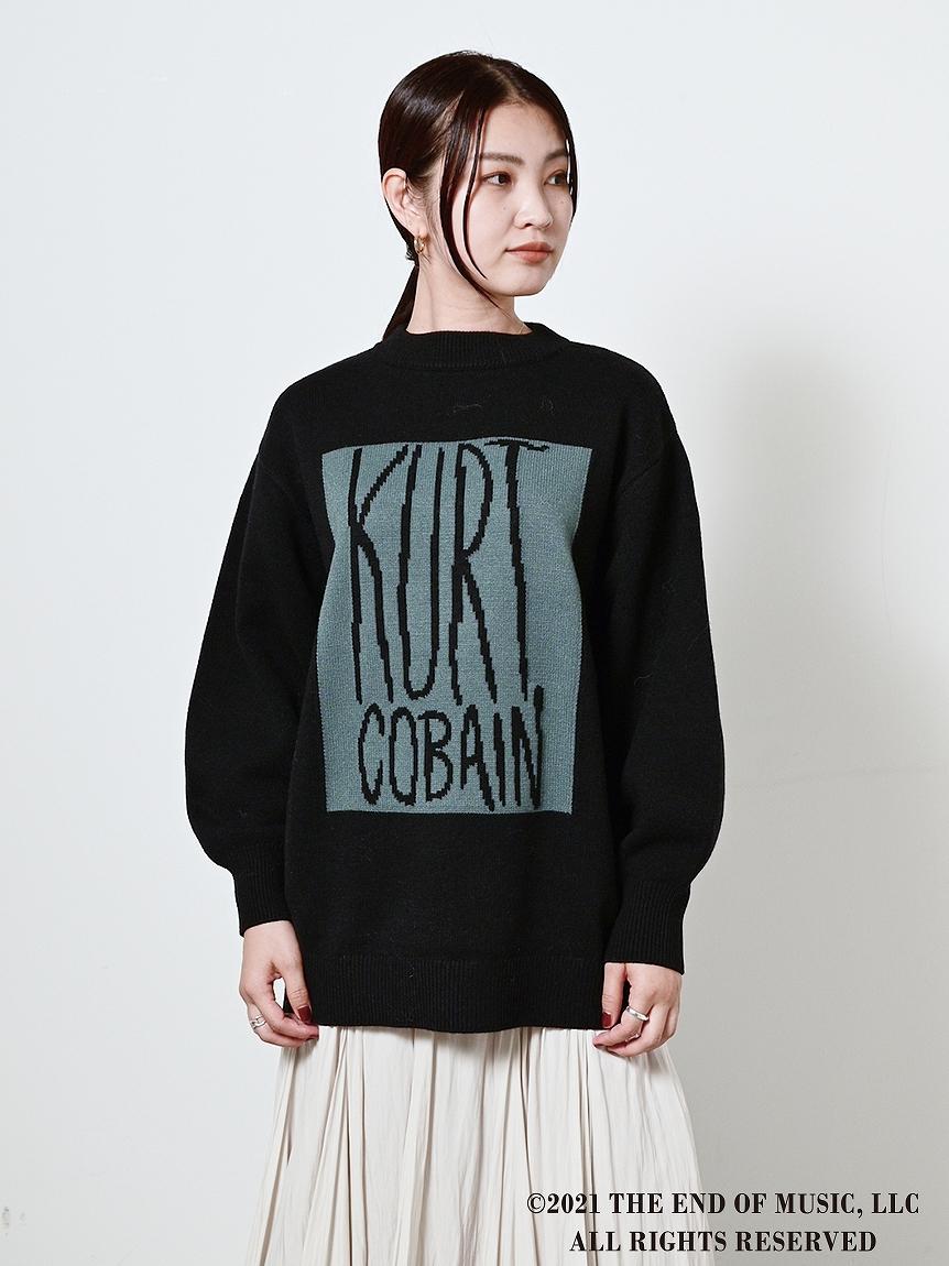 【SNIDEL feat.KURT COBAIN】ジャガードニットプルオーバー(BLK-F)