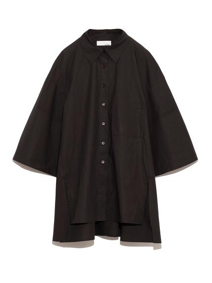 サイドスリット ワイドシャツ(BLK-F)