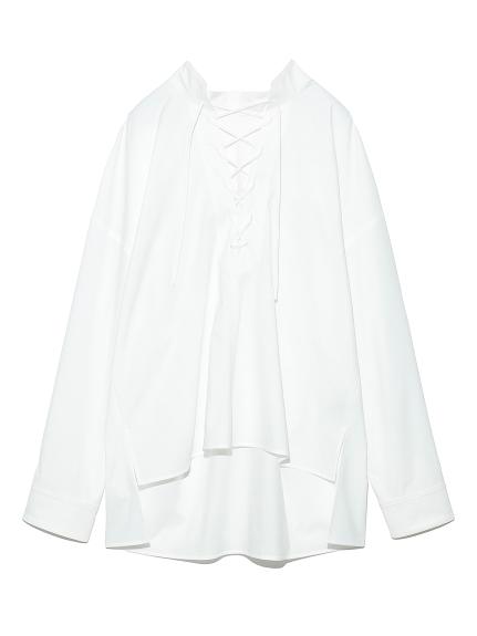 レースアップミリタリーシャツ(WHT-F)