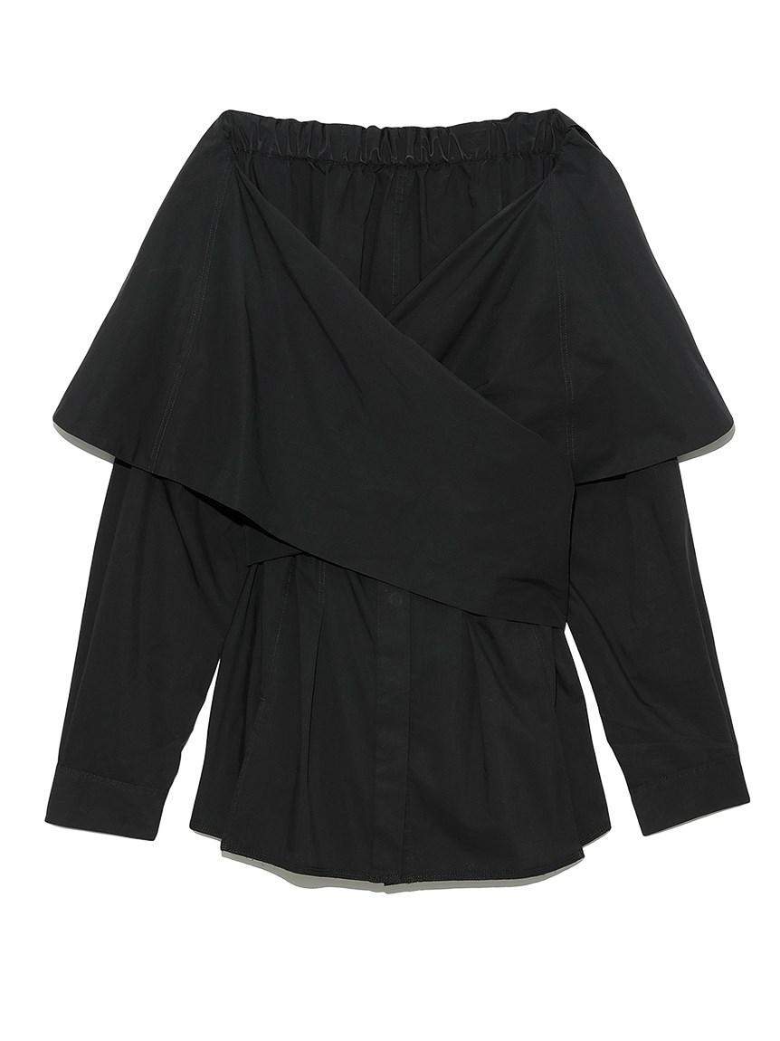 オフショルダーラップシャツ(BLK-F)