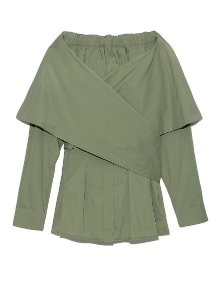 オフショルダーラップシャツ(KKI-F)