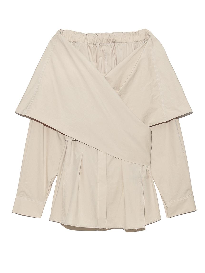 オフショルダーラップシャツ(BEG-F)