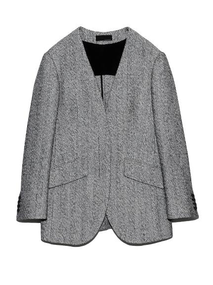 ノーカラースーツジャケット(WHTxBLK-0)