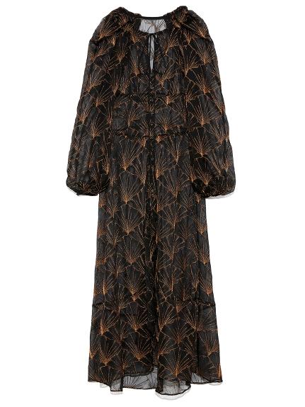 イチョウ柄 総刺繍 ドレス(BLK-0)