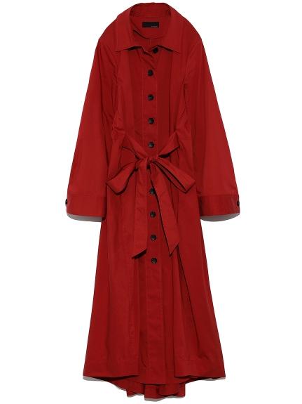 ワイドスリーブ シャツドレス(RED-0)