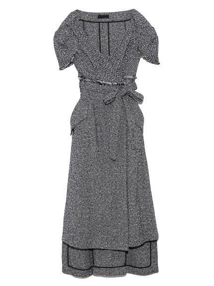 ヘリンボンウール ドレス