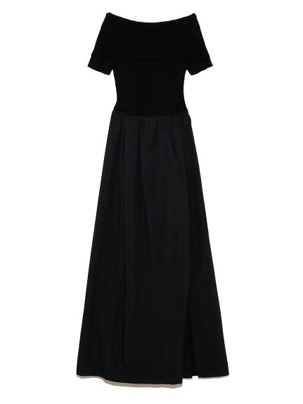 オフショルダー ドッキングドレス(BLK-0)