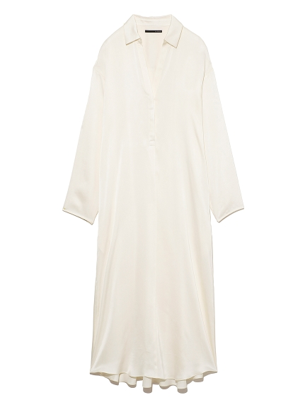 シルクサテンシャツドレス