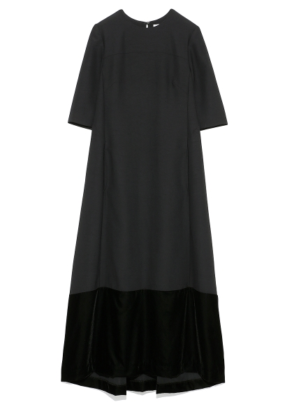 ベルベットヘムロングドレス(BLK-0)