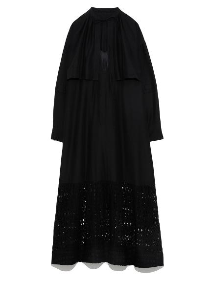 シルクコットンレイヤードドレス(BLK-0)