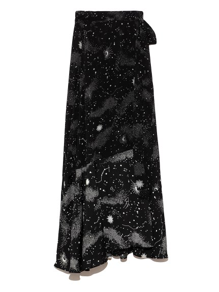 白夜柄 ラップスカート(BLK-0)