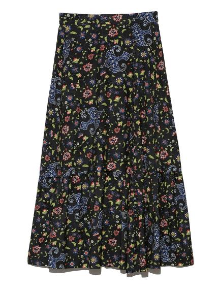 ヴィンテージフラワーラップスカート(BLK-0)
